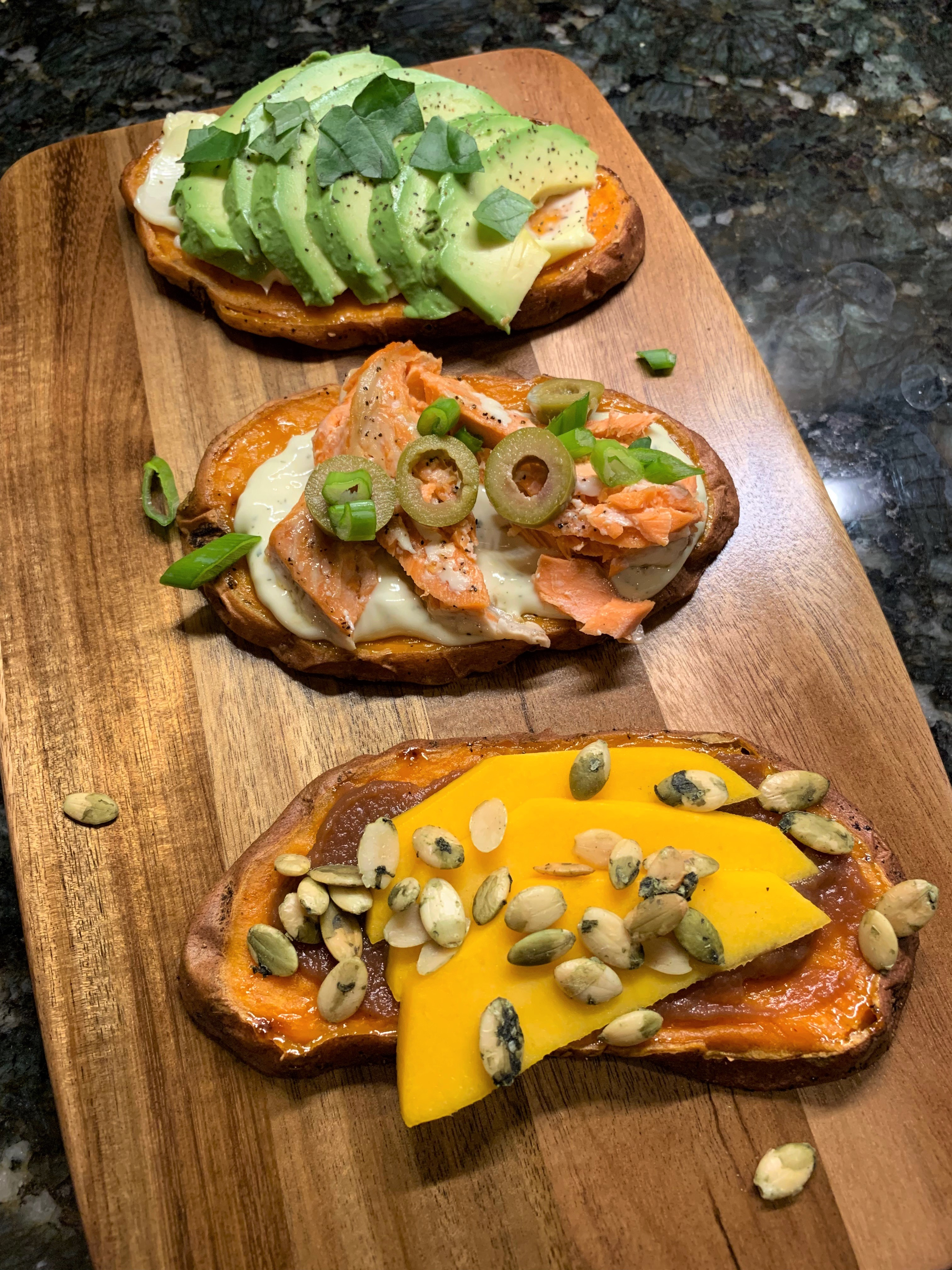 Sweet Potato Toast Three Ways, Dairy, Gluten and Grain Free for Tapas, Appetizers and a Fun Dinner