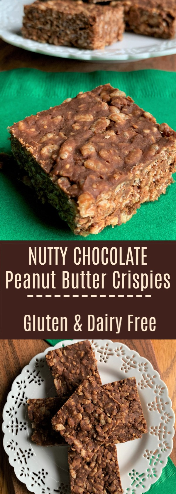 Nutty Chocolate Peanut Butter Crispies! Gluten Free and a Dairy Free Option with Half the Sugar