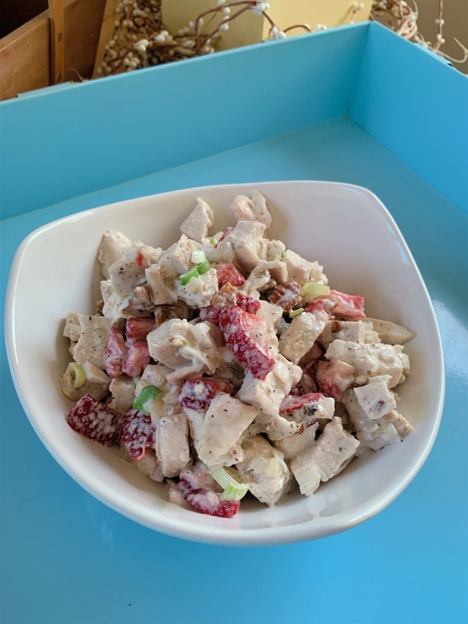 Strawberry Lemon Pepper Chicken Salad on Blue Tray