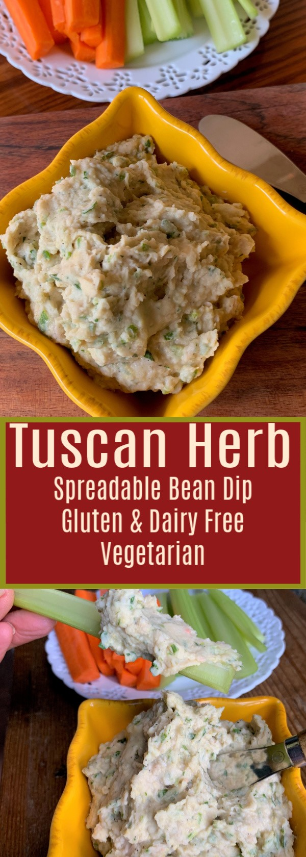 Tuscan Herb Spreadable Bean Dip. A delicious creamy, protein rich vegetarian accompaniment. Gluten Free & Dairy Free