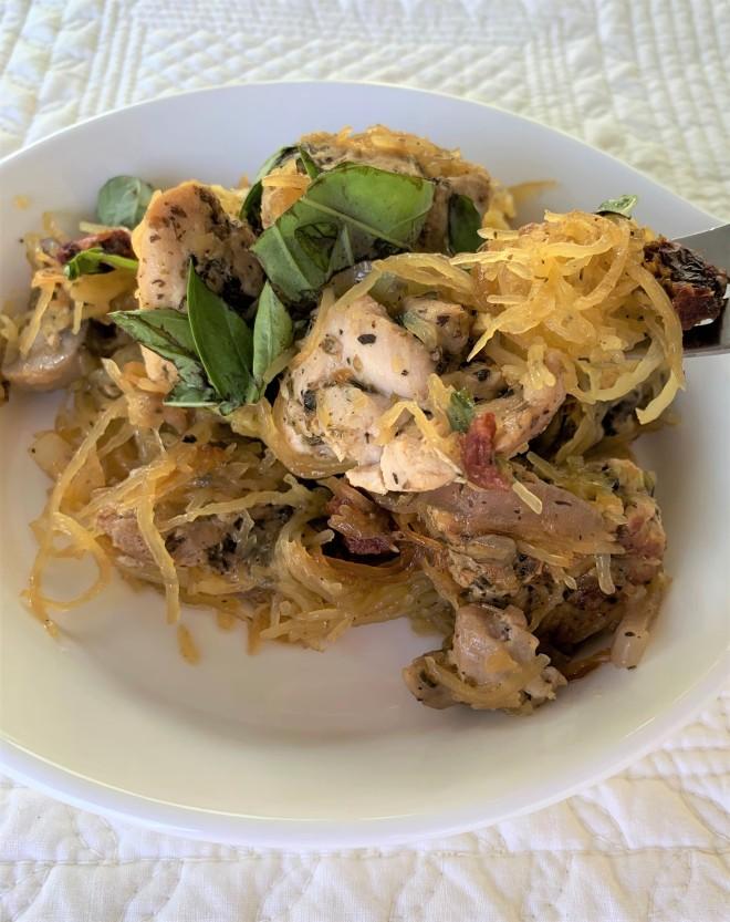 Chicken Tomato Basil Spaghetti Squash Noodles