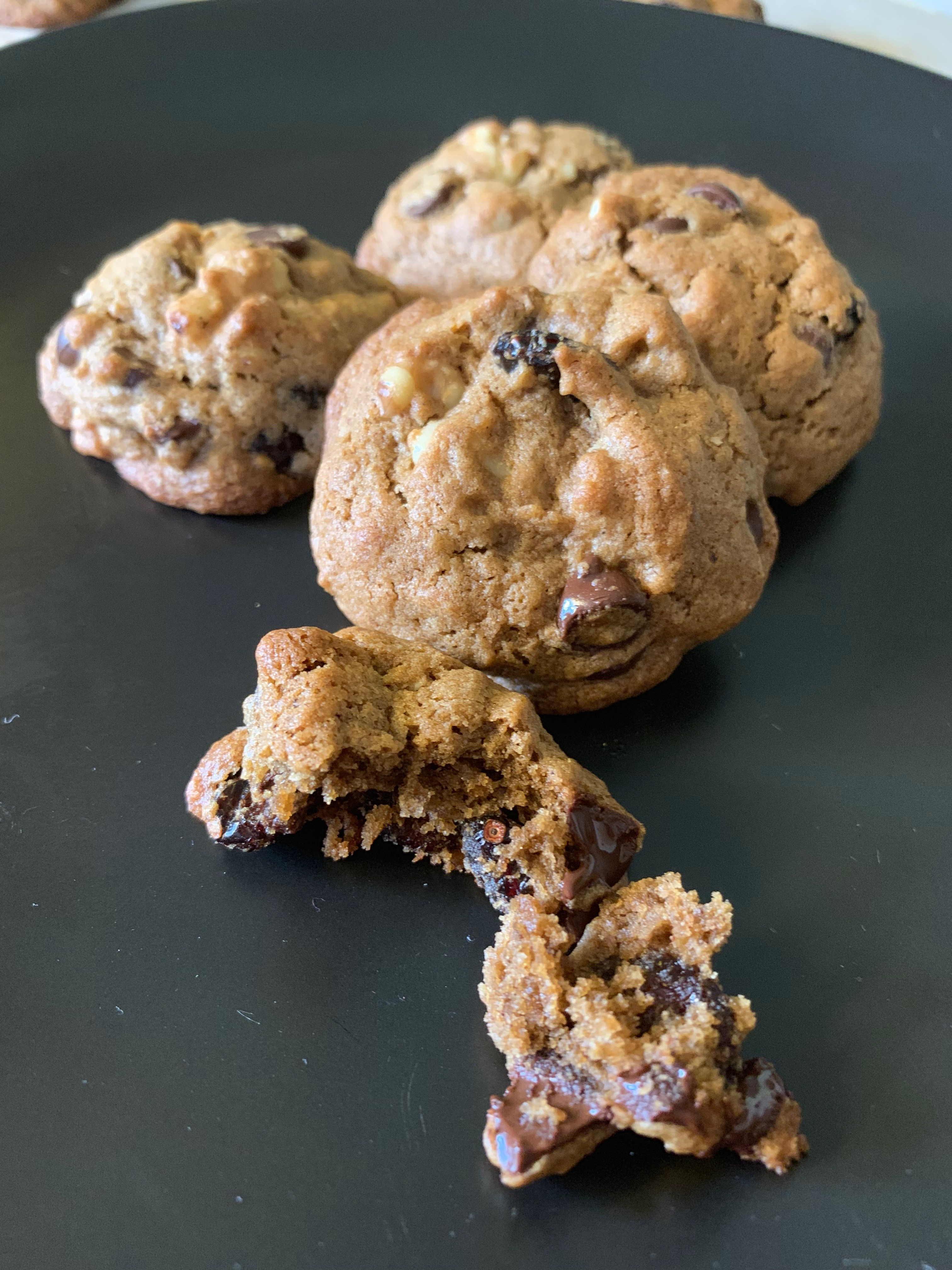 Chocolate Chip, Cranberry, Walnut Cookies Healthier Bakiing