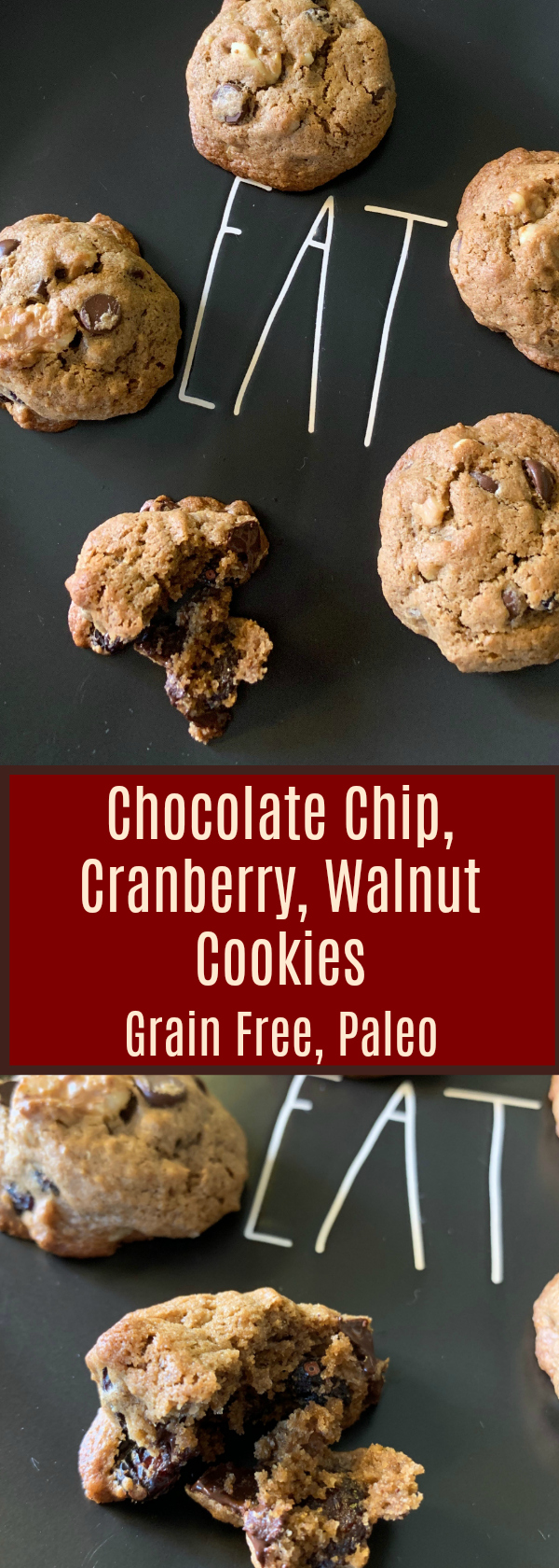Chocolate Chip, Cranberry, Walnut Grain Free Cookies, Dairy Free, Paleo, Gluten Free