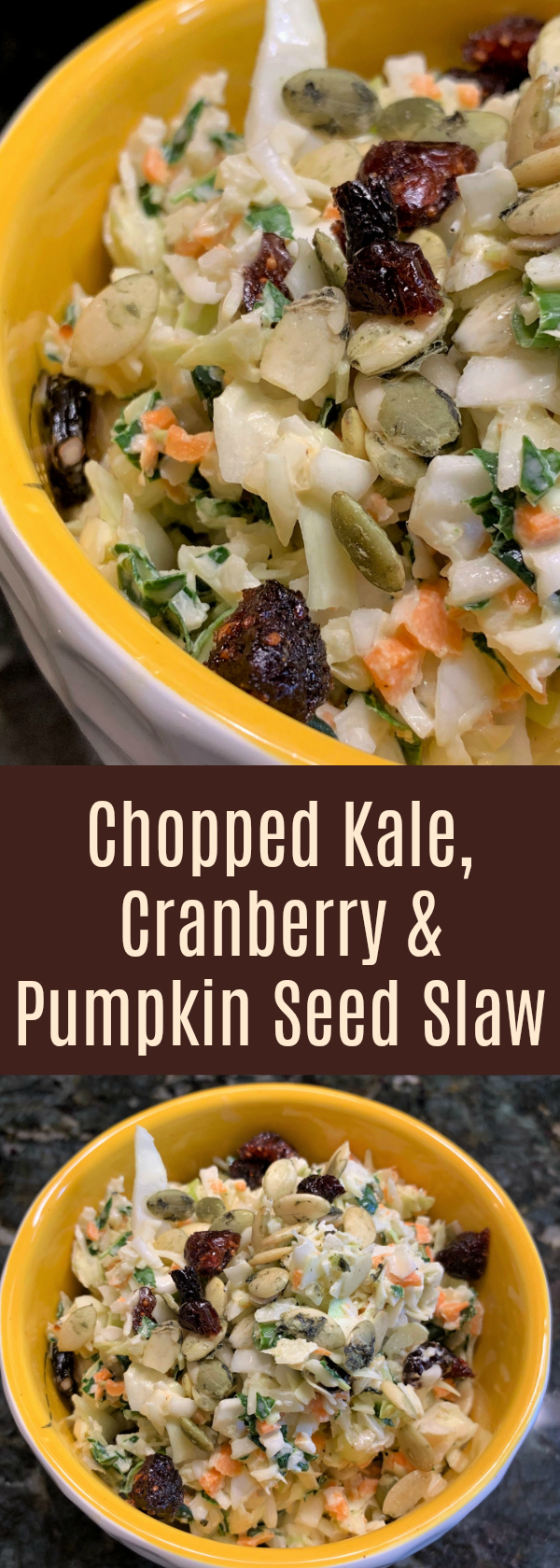 Chopped Kale, Cranberry and Pumpkin Seed Slaw, Gluten and Dairy Free