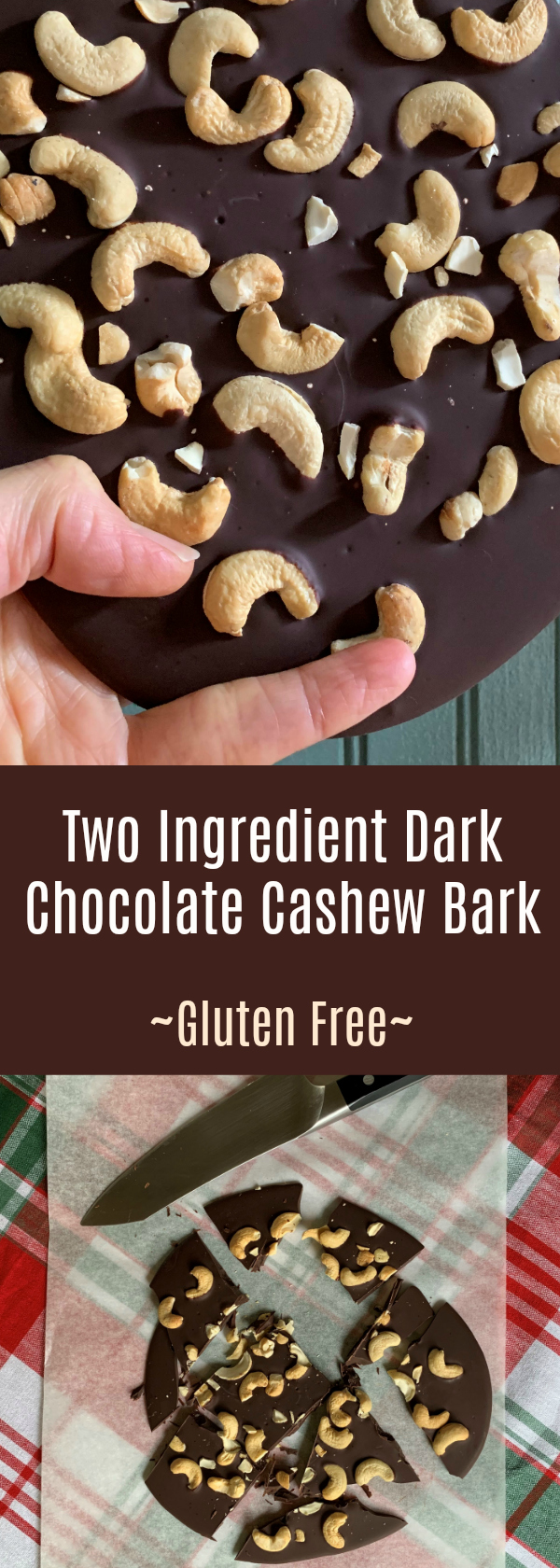 Two Ingredient Dark Chocolate Cashew Bark Gluten Free and Easy Gifts to Give